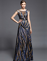 Formal Evening Dress Sheath / Column V-neck Floor-length Charmeuse / Sequined with Beading / Sash / Ribbon / Sequins