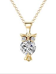 Designer Jewelry Alloy Zircon Owl Pendant Necklace Elegant