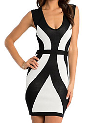 Women's Deep V Mini Dress , Cotton Black Bodycon/Party/Sexy