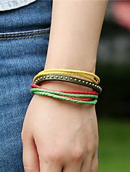 Bracelet Bracelets Vintage / Bracelets en cuir Cuir Soirée / Quotidien / Décontracté Bijoux Cadeau Blanc / Jaune / Vert / Violet,1pc