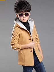 Boy's 130-170CM High Solid-color Wool Jacket & Coat , Winter / Spring / Fall Long Sleeve