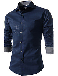 Men's Fashion Printed Long Sleeved Plaid Shirt , Cotton / Polyester Work Plaids & Checks