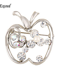 d dépasser nouvelles broches d'arrivée Broche argent clair pomme de cristal Broche bouquet pour femmes / Broche pour enfants