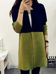 Women's Casual Color Block Stand Long Sleeve Straight Cardigan