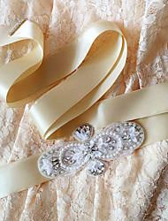 Satin Wedding / Party/ Evening / Dailywear Sash-Sequins / Beading / Pearls / Crystal / Rhinestone Women's 98 ½in(250cm)Sequins / Beading
