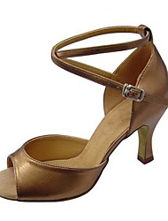 Non Customizable Women's Dance Shoes Latin / Swing / Salsa / Samba / Taffeta Chunky HeelBlack / Brown / Silver / Gold /