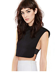 Women's Solid Black Blouse , Shirt Collar Sleeveless