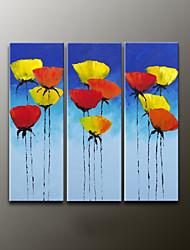 Ручная роспись Цветочные мотивы/ботаническийModern 3 панели Холст Hang-роспись маслом For Украшение дома
