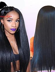 """8 """"-24"""" brasileño peluca del frente del cordón del pelo recto virgen para frente del cordón pelucas de cabello humano de las mujeres"""