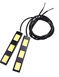 2pcs 9cm 6W épi 3 LED voiture diurne barre lumineuse DRL Lampe de conduire (DC12V)