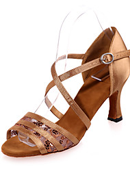 Non Customizable Women's Dance Shoes Satin / Lace Satin / Lace Latin Sandals Flared Heel Practice / Indoor / PerformanceBlack / Brown /