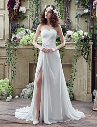 A-line Wedding Dress Court Train Sweetheart Chiffon with Beading / Criss-Cross