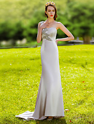 Formal Evening Dress Trumpet / Mermaid One Shoulder Floor-length Satin with Beading