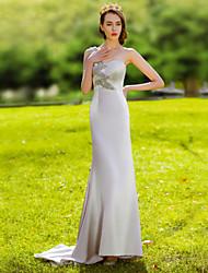 Formal Evening Dress - Silver Trumpet/Mermaid One Shoulder Floor-length Satin