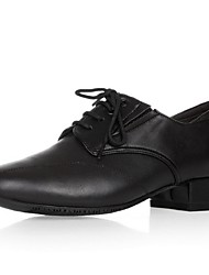 Non Customizable Men's Dance Shoes Modern Leather Chunky Heel Black
