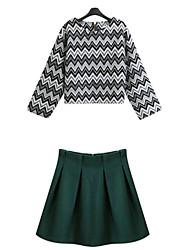 Women's Print Green Dress , Print Round Neck Long Sleeve