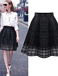 Women's Solid Black Skirt, Vintage Knee Length Mesh