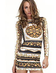 Women's Print Round Neck Long Sleeve Multi-color Bodycon Dress