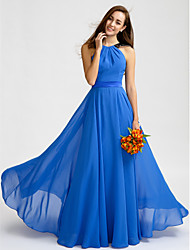 Lanting Bride® Floor-length Chiffon Bridesmaid Dress - A-line Jewel with Lace / Sash / Ribbon