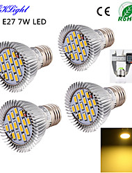 YouOKLight® 4PCS E27 7W 600lm 15*SMD5630 Warm White 3000K High quality LED Spotlight (AC110-120V/220V-240V)