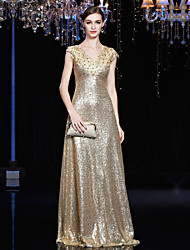 Formal Evening Dress - Gold / Black A-line V-neck Floor-length Sequined