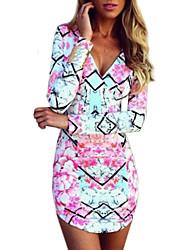 Women's Fashion New V Neck Print Long Sleeve Bodycon  Dress