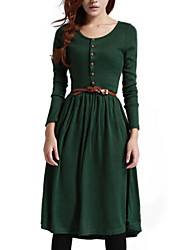 Women's Solid Black / Green Dress , Casual / Cute Long Sleeve