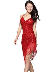 Latin Dance Dresses Women's Performance Spandex / Polyester Sequins 1 Piece Black / Red / Royal Blue / Silver