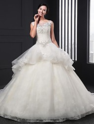 Ball Gown Wedding Dress - Ivory Chapel Train Jewel Organza