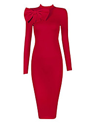 Women's Party/Cocktail Sexy / Vintage Bodycon Dress,Solid Stand Knee-length Long Sleeve Red / Black Cotton / Polyester / SpandexAll