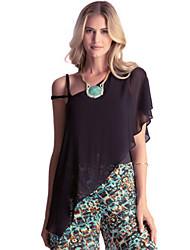 Women's Solid Black Blouse , Asymmetrical Sleeveless