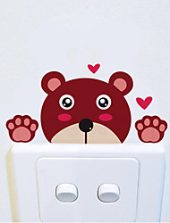 Wall Stickers Wall Decals Style Cartoon Lovely Bear Switch Waterproof Removable PVC Wall Stickers
