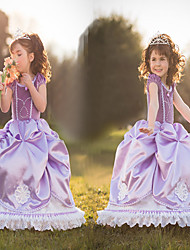 Satin Purple Princess Little Girls' Ball Gown Dress Frozen