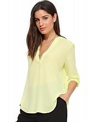 Vrouwen Eenvoudig Zomer T-shirt,Casual/Dagelijks Effen Diepe V-hals Driekwart mouw Beige / Geel Katoen / Polyester Medium