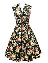 Women's Summer Fashion Printed High Waist Sleeveless Dress