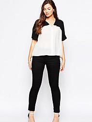 Women's Color Block White Blouse , V Neck ½ Length Sleeve