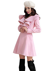 Women's Vintage Coat,Solid Long Sleeve Winter Pink Wool / Others