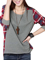 Women's Plaid Splicing Round Collar T-shirt