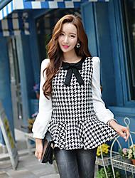 Women's Color Black/White Shirt, Work Shirt Collar Long Sleeve Check / Patchwork Black Shirt