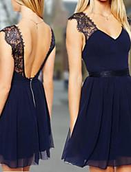 Women's Solid Sexy Lace Dress,Deep V Sleeveless