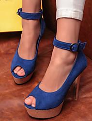 Women's Shoes Velvet Stiletto Heel Heels / Peep Toe / Platform Sandals Office & Career / Party & Evening /  Blue / Red