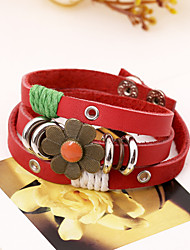 Flower Design Long Band Leather Bracelets