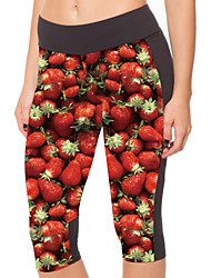 Woman Digital Printing Delicious Strawberry Carry Bof Tall Waist Seven Female Trousers