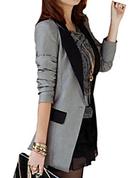 Women's Casual Contrast Color Shrug Long Slim Blazer,Long Sleeve