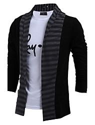 Men's Casual/Daily Simple Regular Cardigan,Color Block Black Gray Shirt Collar Long Sleeve Cotton Fall Winter Medium Micro-elastic