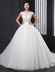 Ball Gown Wedding Dress - White / Ivory Court Train Jewel Tulle