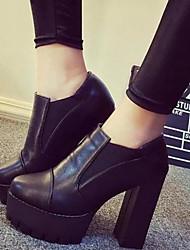 Черный-Женский-Для праздника Повседневный-Дерматин-На шпильке-Удобная обувь