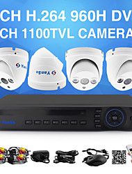 yanse® 1100tvl 2.8mm 4ch couleur caméras DVR Kit de vidéosurveillance seystem étanche IR caméras de sécurité d / n (960H 8ch DVR HDMI)