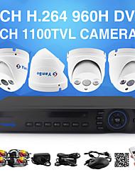 YanSe® 1100TVL 2.8mm 4CH DVR Kit CCTV Cameras Seystem IR Color Waterproof Security Cameras D/N (8CH 960H HDMI DVR)