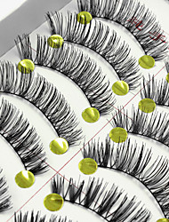 10 Pairs High Quality Natural Black False Eyelashes Fake Lashes Individual Lash Luster Curl Cotton Strip Lash